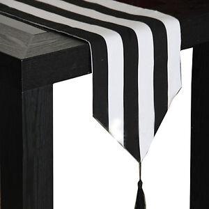 Black and White Stripe Table Runner Wedding Kitchen Home Decor Linen Centerpiece