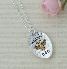 Silver Plated Necklace with 'QUEEN BEE' Gold Colour Bee Bug Pendant