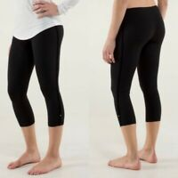 Lululemon Wunder Under Crop Capri Velvet Stripe Bow Size 4 Black Legging
