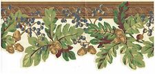 OUTLINED ACORNS LEAVES AND BERRIES ON VINE Wallpaper bordeR Wall Decor