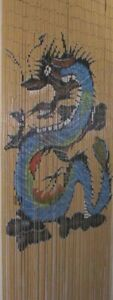 == Bamboo Beads Dooring Curtain Divider - Beige Blue Dragon - Rideau Bambou ===
