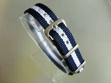 Uhrenarmband Nylon blau weiß blau 14 mm NATO BAND Dornschließe Textil