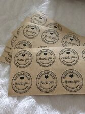 100 Pcs Natural Kraft paper thank you sticker label HandMade With Love Thank You