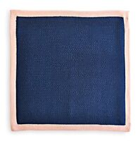 Frederick Thomas plain navy blue knitted pocket square with pink edging