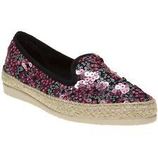 New Womens SOLE Pink Metallic Zandra Textile Shoes Espadrilles Slip On