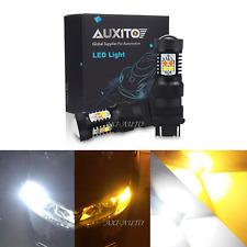 2x 3157 4157NA White Amber Switchback LED Turn Signal Light Parking DRL Bulbs
