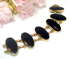 Vintage  Jewelry Fine Fashion 12Kt Gold Filled  Black Onyx Bracelet