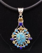 """Turquoise Copper Matrix Multi Gemstone Sterling 925 Silver 3"""" Pendant Satin Cord"""