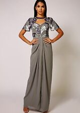 Dress 8 BNWT Virgos Lounge Embellished Grey Wedding Bridesmaids Prom Maxi £130