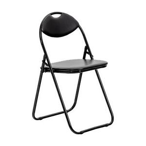 Folding Chairs Padded Faux Leather Studying Dining Office Chair Black Frame x1