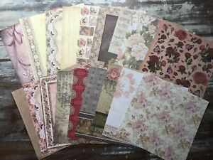 """18 Sheets of 8"""" x 8"""" SCRAPBOOK PAPERS - Vintage Floral Designs *BEAUTIFUL*"""