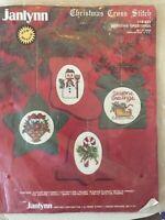 Janlynn  Cross Stitch Kit #50-823  Seasons Greetings  Set of 4 ornaments 1987