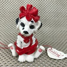 Dalmatian Figurine Dog Kelsey Collection Surprise Package Wrapped in Red Ribbin