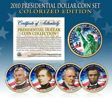 2010 U.S. MINT COLORIZED PRESIDENTIAL $1 DOLLAR COINS * COMPLETE SET OF 4 *