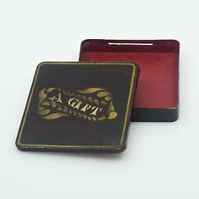 "Vintage Tin Litho Brown ""A Gift"" Box with Red Interior"
