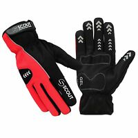 New SPG Cycling Gloves Winters Full Finger Waterproof Soft Shell Gel Paded Red