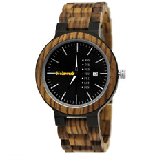 Holzwerk Germany® Herren Natur Holz Herrenuhr Armbanduhr Uhr Holzuhr Schwarz H10