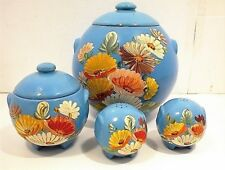 COOKIE JAR RANSBURG GREASE SALT & PEPPER SHAKERS BLUE FLOWERED STONEWARE CROCK
