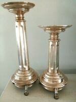 """Pair of  Brass Lion Footed Base Fluted Column Candle Holders 19"""" & 16"""" tall"""