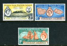 1961 Pitcairn Island Centenary of Return From Norfolk Island Muh Set of 3 Stamps