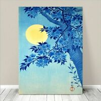 "Beautiful Japanese Floral Art ~ CANVAS PRINT 8x10"" ~ Full Moon Blue Sky Koson"