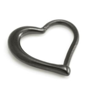 1.2mm Black PVD Hinged / Clicker Heart Ring ~ Daith, Rook, Tragus Piercing