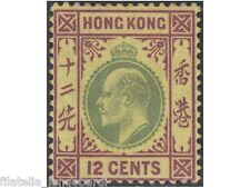 HONG KONG 1903 Edward VII stamp 12cents green/purple/yellow SG.68 -MH- F370