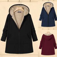 Mode Femme Couleur Unie Hiver Chaud Manche Longue Poche Manteau à capuche Plus