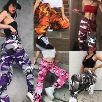 Damen Cargo Camouflage Jogging Haremshose Cargohose Camo Joggers Hip Hop Hosen