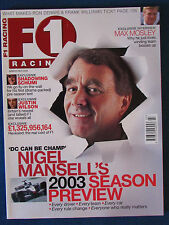 F1 Racing Magazine - March 2003 - Nigel Mansell Cover - Formula One
