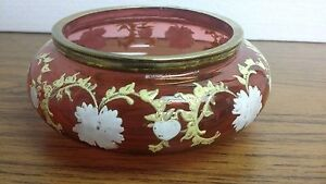 BEAUTIFUL ANTIQUE CRANBERRY GLASS ENAMELED BOWL BRASS EDGE GILT WHITE FLOWERS