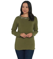 Denim & Co. Perfect Jersey Boatneck Long- Sleeve Top with Embroidery - Olive - M