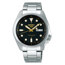NEW Seiko 5 Sports 100M Automatic Men's Watch Black Dial Gold Accents SRPE57K1