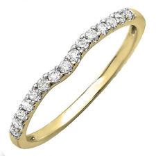 0.25 CT 18K Yellow Gold Round Diamond Anniversary Wedding Ring Matching Band