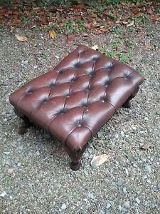 Vintage Brown Leather Foot Stool