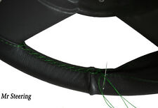 REAL BLACK LEATHER STEERING WHEEL COVER GREEN STITCH FITS LEA FRANCIS 14HP 46-53