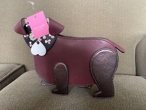Rare Kate Spade Maroon Floral Pup Dog Crossbody Bag