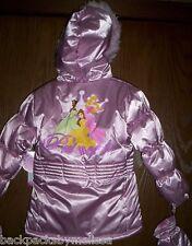 Disney PRINCESS Coat Toddler Girl's size 2T NeW Satin Pink Soft Matching MITTENS