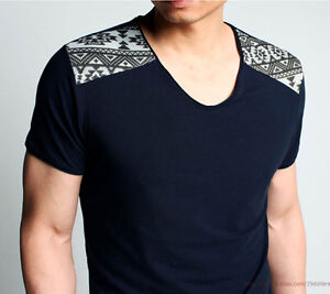 Fashion Fitted Tee Mens T-shirt Short Sleeve Shirt Double Shoulder Cloth Joining