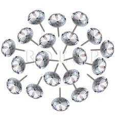 20pcs Crystal Upholstery Nails Tacks Pins 20mm Silver Gem Flower Sofa Wall Decor