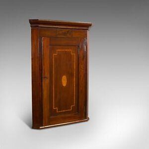 Antique Corner Cabinet, English, Mahogany, Walnut, Inlay, Georgian, Circa 1800