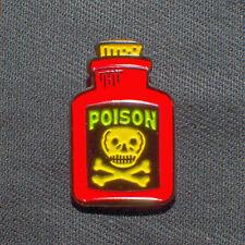 """1"""" Red Poison Bottle skull crossbones badge pinback lapel pin"""