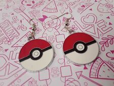 Cute pokemon ball poke red white circle charms earrings hooks silver jewelry