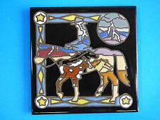 "Ceramic Art Tile 6""x6"" Cowboy western horse lighting sky hand painted trivet I52"