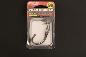Owner 5624-155 Toad Double Hook Size 5/0 Pack of 2 TwistLock Soft Body Frog Hook