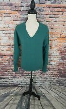 Pringle of Scotland Women Teal V-Neck 100% CASHMERE Pullover Sweater Sz M - L