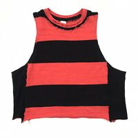 Free People Black Red Striped Distressed Cropped Muscle Tank Size Medium