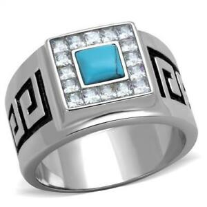 Men's Stainless Steel Synthetic Sea Blue Stone Ring 8 9 10 11 12 13 TK2053
