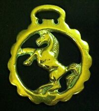 Lovely Vintage REARING HORSE Scalloped Frame Horse Brass England WOW YOUR WALLS!