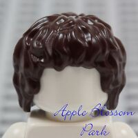NEW Lego Minifig Short Dark BROWN HAIR - Hobbit Frodo Boy Wavy Curls Head Gear